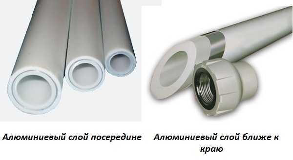 Слой фольги может располагаться ближе к наружному краю трубы или в глубине материала