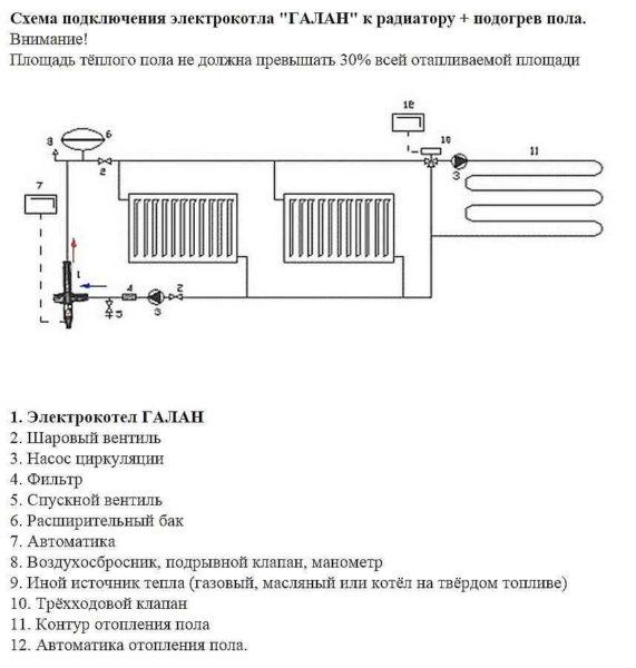"""Схема подключения котла """"Галан"""" в систему с  радиаторами и теплым полом"""