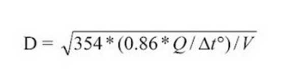 Формула расчета диаметра трубы отопления