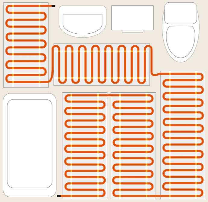 Пример укладки кабельного мата
