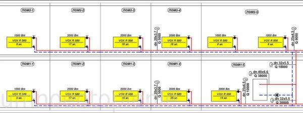 Двухтрубная схема отопления двухэтажного дома. Левое крыло