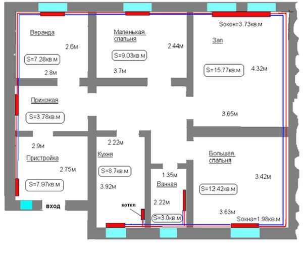 При расчете количества радиаторов исходят из правила: под каждое окно - один радиатор