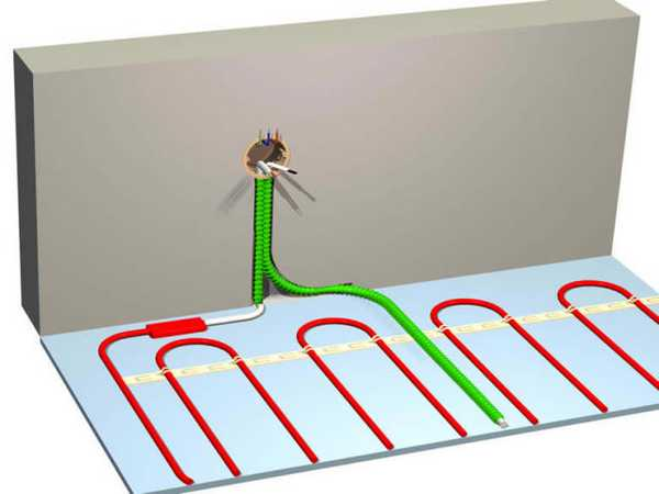 При монтаже электрического пола первым делом устанавливаем термостат