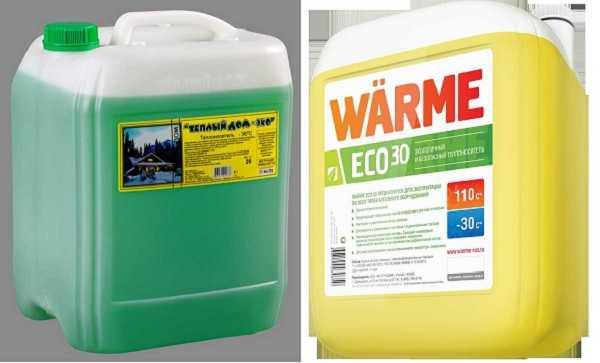 """Незамерзающие жидкости на основе пропиленгликоля окрашиваются чаще в цвета зеленой гаммы, нам многих упаковках стоит приставка """"Эко"""""""