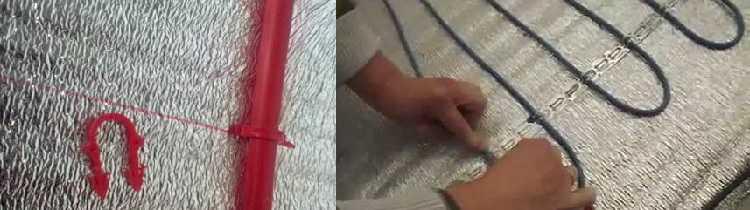 Крепить трубы или кабели можно разными способами. Слева - крепежные скобы (один из видов), слева - металлическая монтажная лента