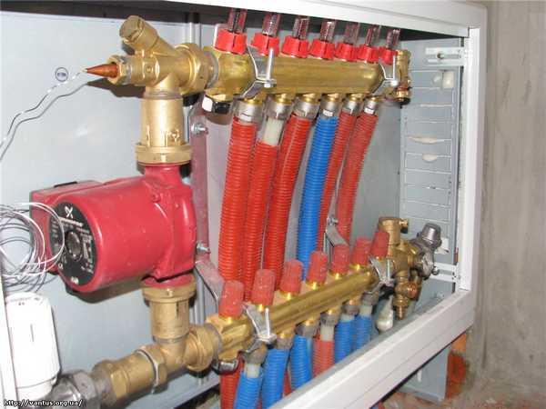 Заливать теплоноситель в систему теплого пола нужно через соответствующий вход коллектора