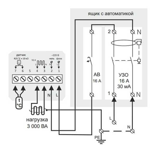 Электрическая схема подключения терморегулятора теплого пола с заземлением или занулением (пунктиром)