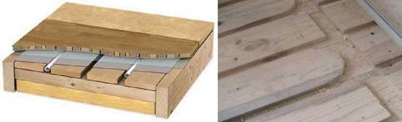 Водяной теплый пол без стяжки: деревянная настильная система фабричного (слева) и самодельного (справа) изготовления