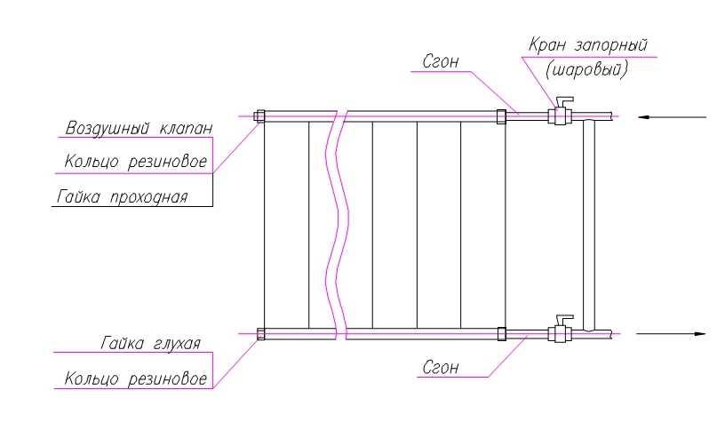 """Вариант установки с шаровыми кранами: подача сверху, """"обратка"""" снизу, однотрубное подключение с байпасом"""