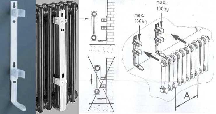 Крепление чугунных радиаторов к стене