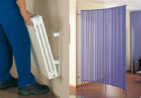 Трубчаые радиаторы могут навешиваться на стену на кронштейны или устанавливаться на ножки - напольное исполнение
