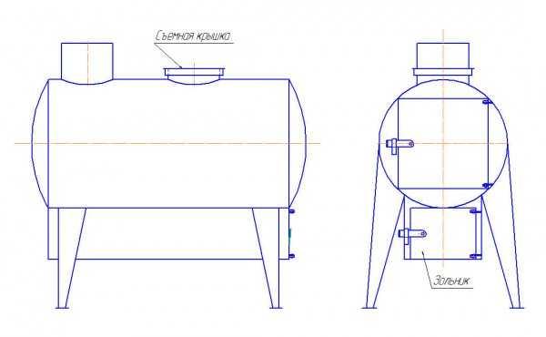 Чертеж буржуйки из горизонтально расположенного газового баллона с приваренным снизу ящиком зольника