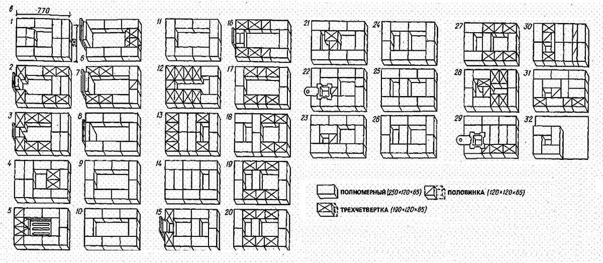 Схема кладки печи с варочной плитой для дома