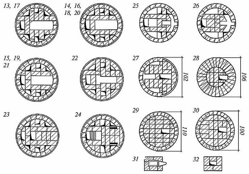 Круглая печь голландка схема кладки