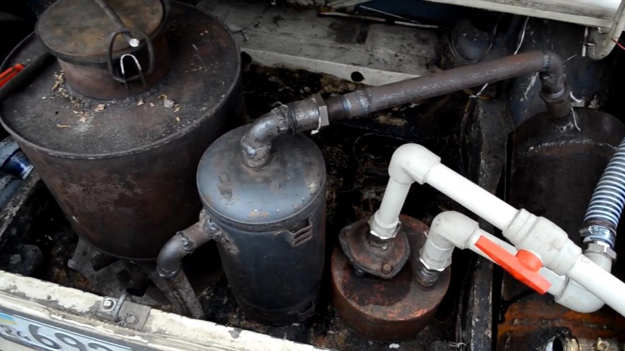 Один из способов размещения дровяного газогенератора в авто