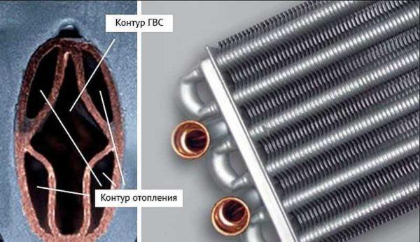 Один из вариантов битермического теплообменника для двухконтурных газовых котлов отопления