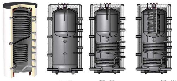 Горячую воду в теплоаккумуляторе можно греть или через змеевик, или во встроенном баке