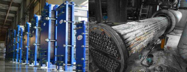 Теплообменник для горячей воды от отопления: в частном секторе используются два типа - пластинчатые (слева) и кожухотрубные (справа)