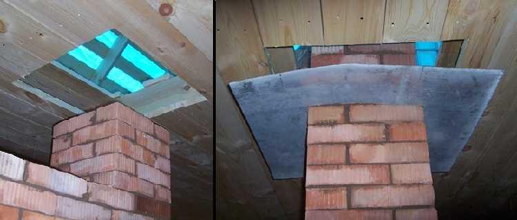 Можно вывести через потолок  кирпичную трубу без специальной проходки
