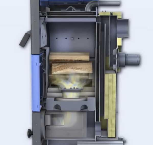 Один из вариантов внутреннего устройства котла длительного горения на твердом топливе