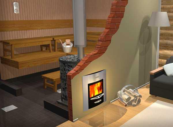 Установить металлическую печь можно так, чтобы подкладывали топливо из другого помещения