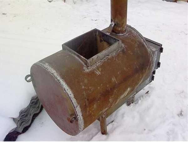Банная печь из трубы горизонтальная