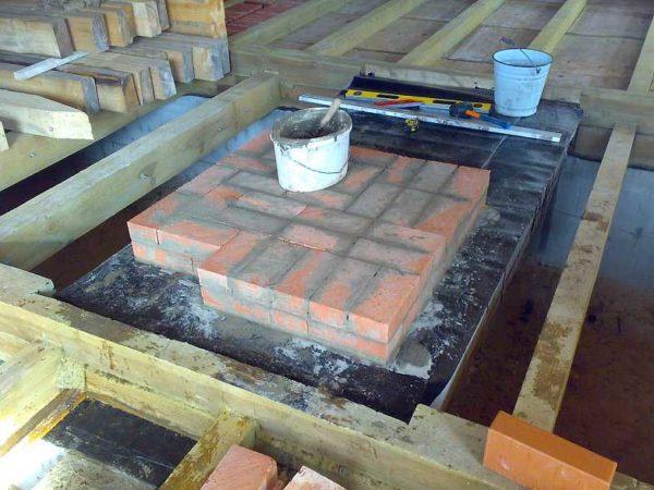 На фундамент кладут два слоя гидроизоляции (толь, рубероид и т.д.), после чего начинают кладку