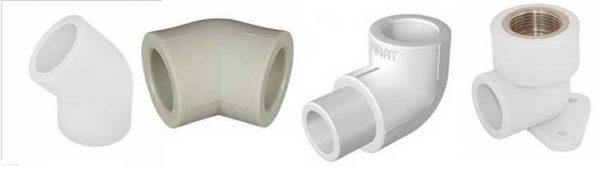 Уголки для ППР труб могут быть с одинаковыми или разными диаметрами, с разными углами