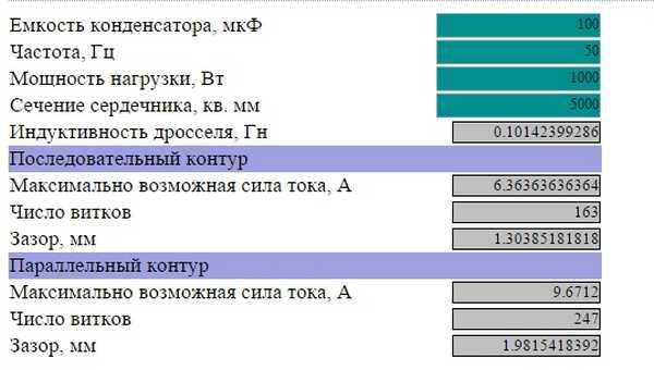 Расчет параметров на 1кВт  мощности