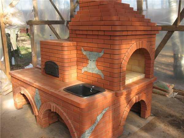 Русская печь с угловым камином