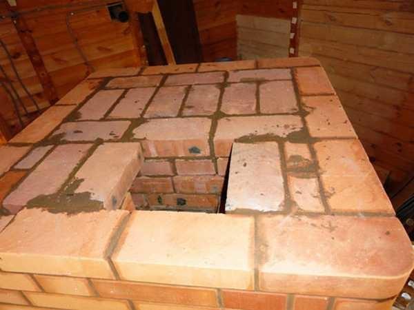 Печь кладут на глиняный раствор, проверяя каждый ряд на горизонтальность, а стены на вертикальность, отслеживая углы
