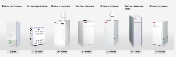 """Ассортимент газовых котлов """"Данко"""""""