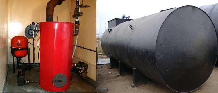 При эксплуатации котлов на жидком топливе запас горючего хранят в резервуарах