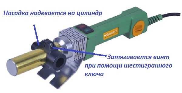 Установка насадок на паяльник с цилиндрической платформой