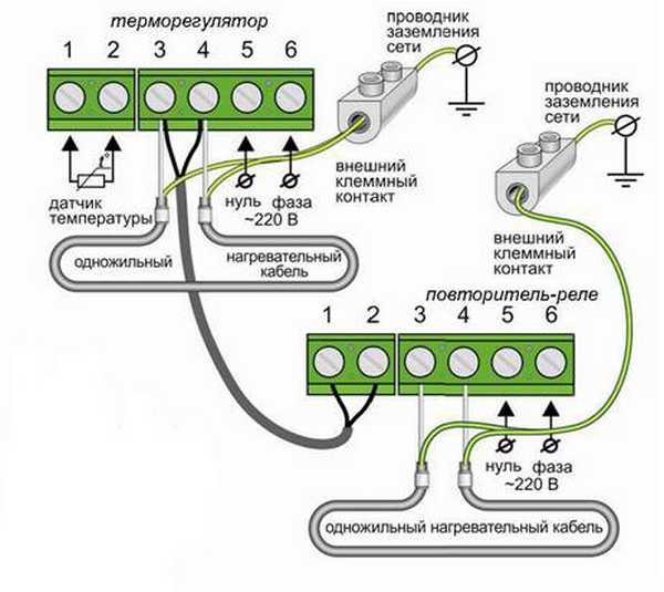 Один из вариантов подключения проводов к термостату