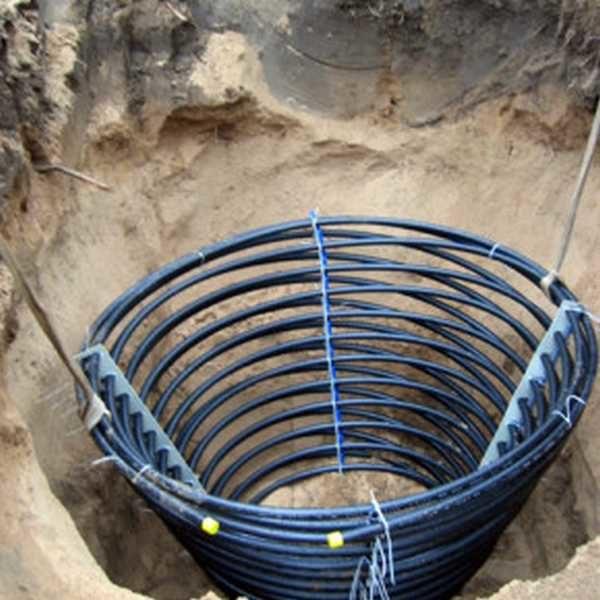 Чтобы уменьшить площадь под геотермальное поле можно использовать скрученные в спирали трубы
