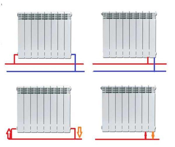 Нижнее подключение для двухтрубных и однотрубных систем