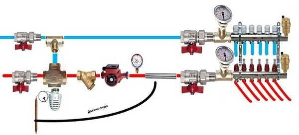 Подробная схема обвязки котла теплого пола (с двухходовым клапаном)