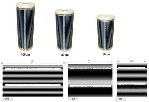 Инфракрасные пленки могут быть шириной 50см, 80см и 100см