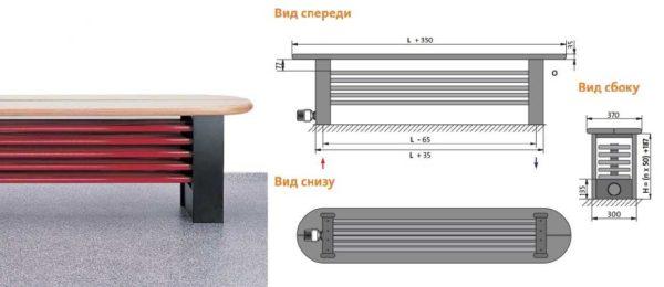 Purmo DELTA Bench - батарея-скамейка в другом исполнении