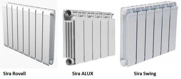 Некоторые модели экструзионных алюминиевых радиаторов: Sira ALUX, Rovall,  Swing