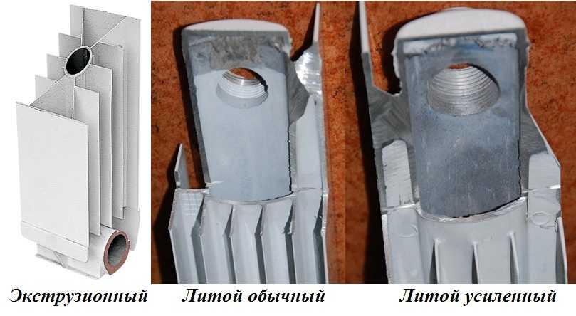 Разница между экструзионными, литыми обычными и литыми усиленными алюминиевыми радиаторами очевидна: диаметр вертикальных коллекторов сильно отличается