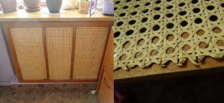 Вот такая решетка из ротанговой плетенки  сделана своими руками