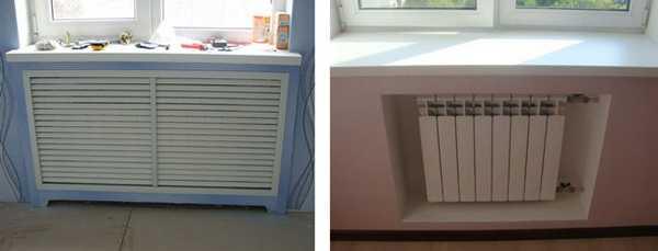 Если нужно скрыть радиатор, можно сделать для него нишу из гипсокартона, а потом закрыть ее или деревянной решеткой, или метлалической