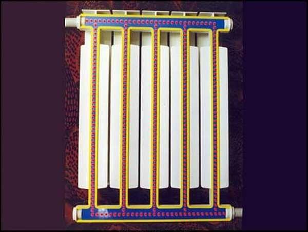 Так алюминиевый радиатор выглядит в разрезе