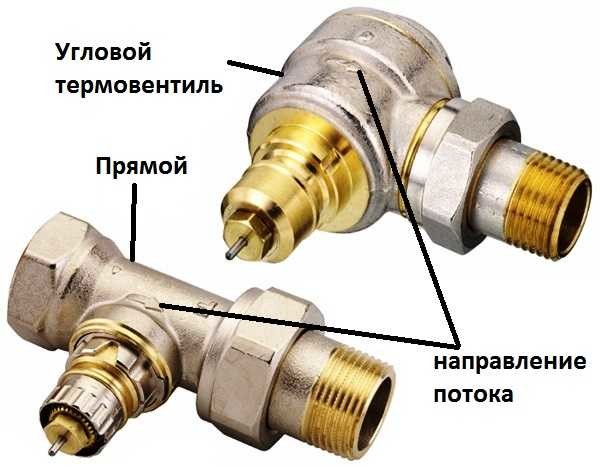 По типу подключения термостатические вентили для радиаторов бывают прямыми и угловыми