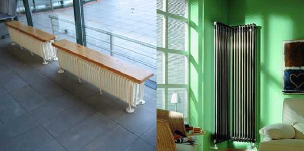 Трубчатые радиаторы-скамейки, вертикальные  и угловые  - виды разные