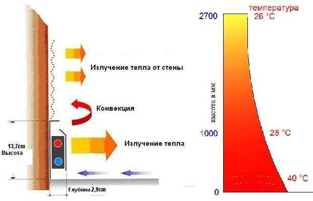Принцип работы плинтусного отопления в графическом изображении: на уровне головы (примерно 1,6-1,7 метра) температура достигает комфортных 18-20 oC