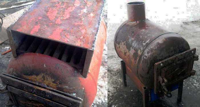 Готовая печка из баллона с зольным ящиком. На эту полочку ставится выдвижной ящик, сваренный по размерам. Выдвигая/задвигая его регулируется подача кислорода и сила горения дров