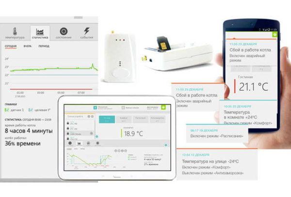 GSM управление котлом отопления СМСками происходит при помощи приложения, в котором можно контролировать состояние вашего отопления